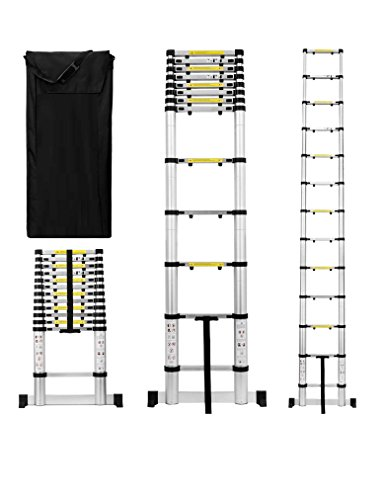 Useful. UH-TL189 12.5ft Aluminum Telescoping Extension Ladder with Finger Save Stoppers, Safety...