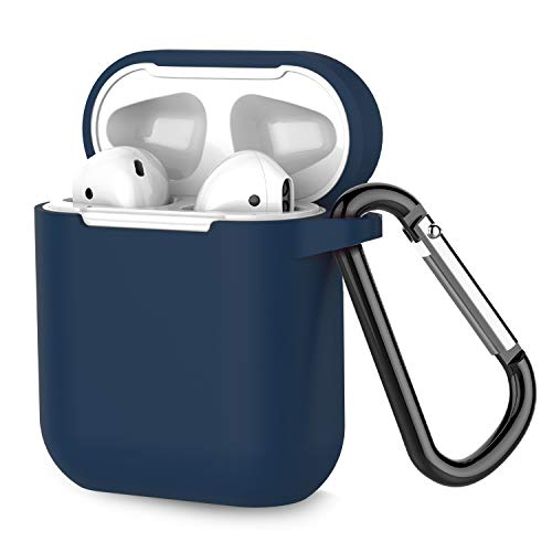 Airpods Case, Coffea AirPods Accessories Shockproof Case Cover Portable & Protective Silicone Skin Cover Case for Airpods 2 & 1 (Front LED Not Visible) - Navy