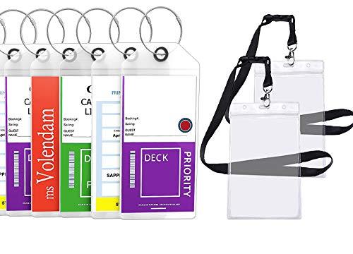 Cruise Tags Luggage Etag Holders Zip Seal & Steel Loops Thick PVC (4 Pack + 2 ID Holders) -