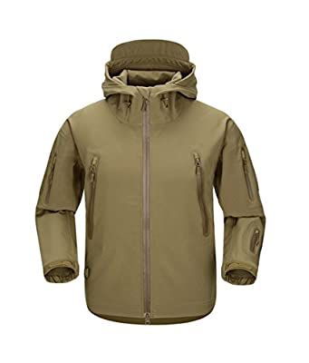 FREE SOLDIER Men Outdoor Tactical Softshell Jacket Waterproof Army Military Hooded jacket (Wolf brown XL)