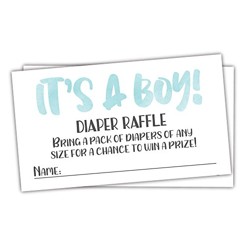 Pooh Fun Invitation - 50 Blue Watercolor It's A Boy Diaper Raffle Tickets - Boy Baby Shower Game