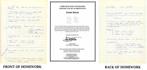 Ernie Davis Handwritten page of notes from Syracuse Orangemen - 1961 Heisman Trophy Winner - Deceased 1963