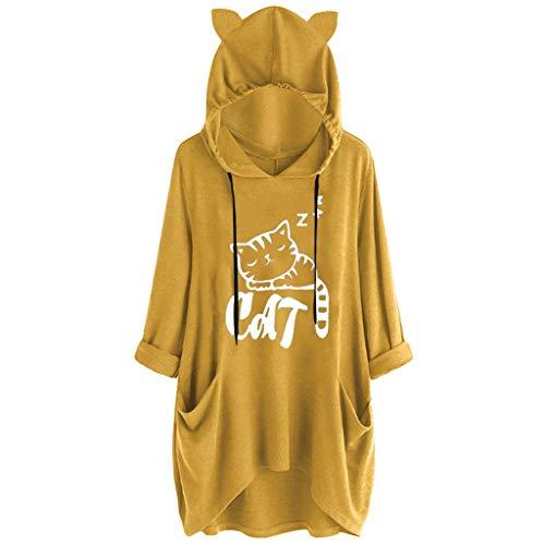 Xinantime Womens Casual Hooded Sweatershirt Long Sleeves Cat Ear Print Pocket Shirt Irregular Top ()
