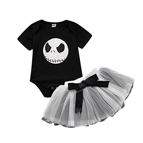 Toddler Baby Girl Short Sleeve Romper Jumpsuit Tutu Skirt Outfit,Crytech Funny Skull Letter Print Bobysuit Splice Layer Tulle Party Dress for Halloween Costume Photoshoot Clothe (0-3 Months, Skull)