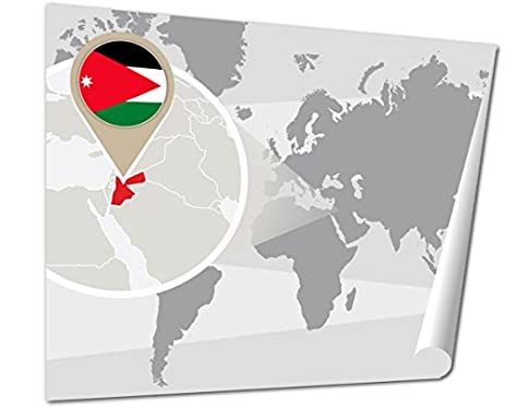 Amazon ashley giclee world map with magnified jordan amman ashley giclee world map with magnified jordan amman world map with magnified jordan jordan flag and gumiabroncs Choice Image