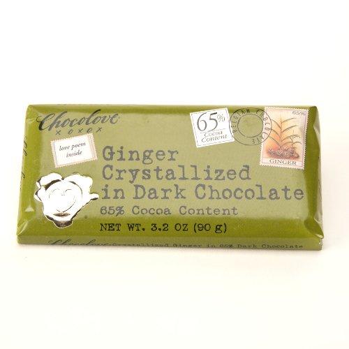Chocolove - Dark Chocolate Bar Crystallized Ginger - 3.2 oz.pack of 2