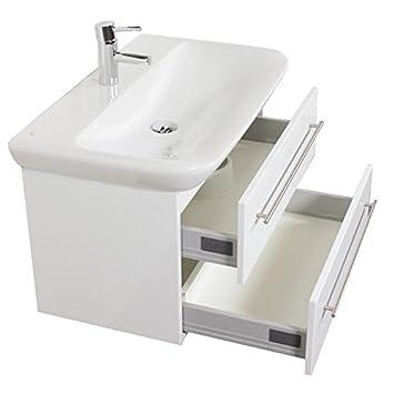 Waschtisch mit unterschrank weiß  Emotion MYDAY80CM000101DE Waschbecken mit Unterschrank, Holz, weiß ...