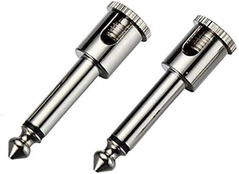 100pcs 2 Poles 6.35mm Mono Male Plug Copper Nickel Plated Screw Solder-Free 1//4 Inch Mono Guitar Plug Jack Microphone Connectors