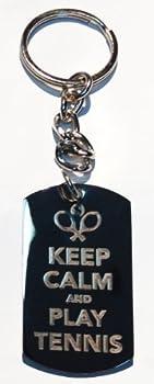 Keep Calm & Play Tennis w/ Racquet - Metal Ring Key Chain Keychain