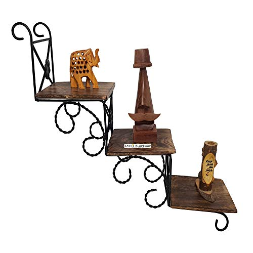 Desi Karigar® Wooden Wall Hanging Shelve/Shelf for Decoration A Unique Wall Art in Stair Shape