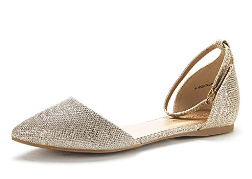 DREAM PAIRS Women's Flapointed-New Gold Glitter D'Orsay Ballet Flats Shoes - 7.5 M US (Evening Flats)