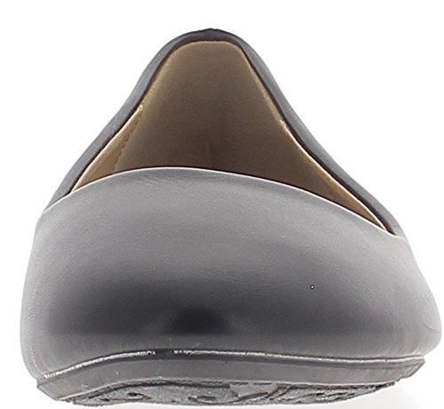 Ballerines Grande Taille Noires Talon DE 0.5cm Bout Arrondi Aspect Cuir Brillant rexrEh