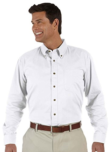 Devon & Jones Men's Long Sleeve Titan Twill Button Down Dress Shirt D500 white X-Large Devon And Jones Cotton Dress Shirt