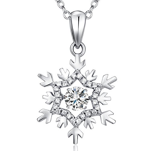 "Han han Snowflake Pendant Necklace,925 Sterling Silver ""Dancing Dimaond"" Snowflake Pendant Necklace,Beautiful Fashion Dancing Snowflake Necklace Inlaid Zirconia,Lovely Snowflake Necklace,18''"