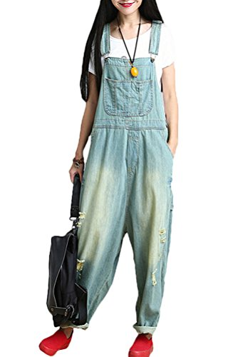 Minibee Women's Fahion Denim Bib Overalls/Jumpsuits/Baggy Pants Light Blue