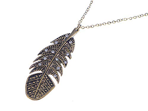 Alilang Golden Tone Shine Clear Crystal Rhinestones Native Tribal Earth Feather Pendant Necklace ()