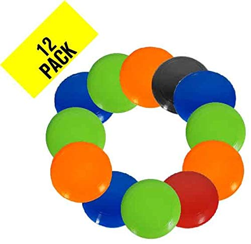 Plastic Flying Disc - Pack of 12 Discs - Assorted Colors - Heavy-Duty Bulk Set of 11-inch Flying Saucers - Great for School, Classroom, Prizes, and Party Favors - Best Value - Made in USA (Assorted)]()