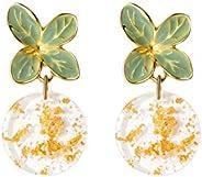 Beauty World 925 Sterling Silver Teardrop Bling Leaf Earrings for Women Girls hypo-allergenic Acrylic Round St