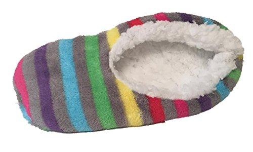 Eye Candy Sherpa Voering Pantoffels Gestreept Mismarked Maat Eerste Kwaliteit Grijs