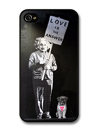 Love is the Answer Albert Einstein Dog Banksy Graffiti Quote coque pour iPhone 4 4S