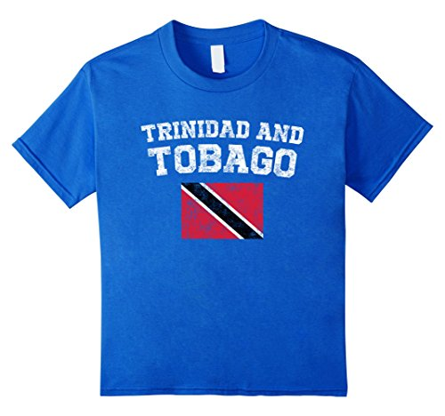 unisex-child Tobagonian Flag Shirt - Vintage Trinidad and Tobago T-Shirt 12 Royal Blue (Flag Colors Trinidad)