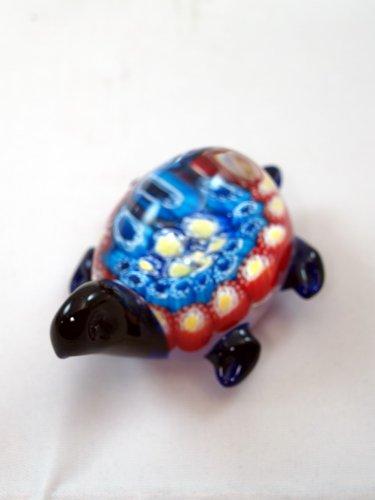 (M Design Art Handcraft Glass Blue/Red Turtle Paperweight [Kitchen])