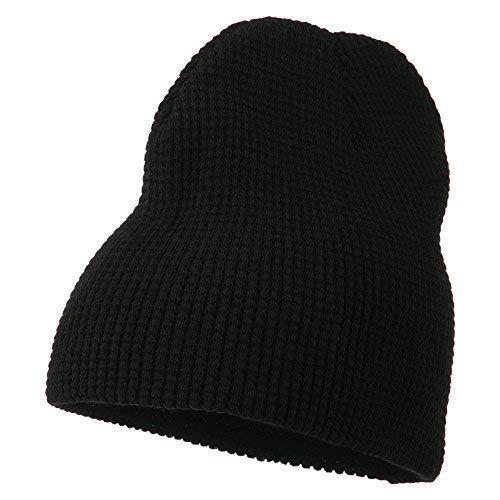 Acrylic Knit Waffle Short Beanie - Black OSFM