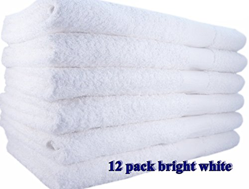 12 Pack White Hotel-Spa-Pool-Gym Cotton Hair & Bath Towel -