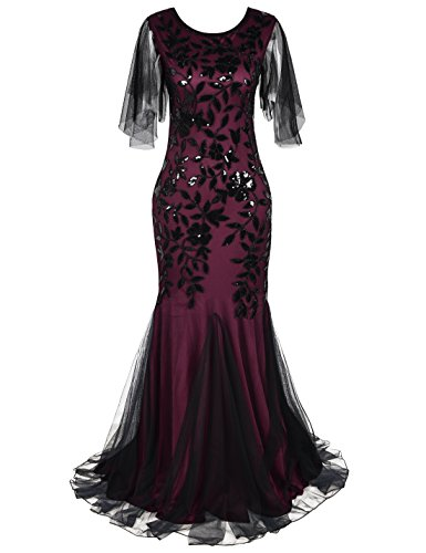 PrettyGuide Women's Evening Dress 1920s Sequin Deco Mermaid Hem Maxi Long Ball Gown Burgundy XL -