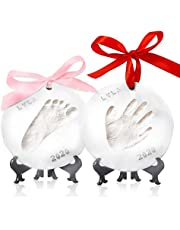 Baby Handprint Footprint Ornament Keepsake Kit - Personalized Baby Prints Ornaments For Newborn - Baby Nursery Memory Art Kit - Baby Shower Gifts For Baby Registry Boys Girls