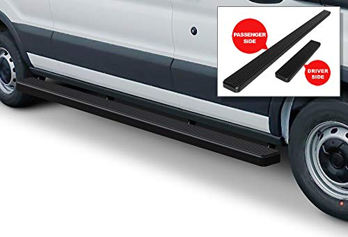 APS iBoard Running Boards (Nerf Bars | Side Steps | Step Bars) for 2015-2019 Ford Transit Full Size Van 3-Door | (Black Powder Coated 5 inches)