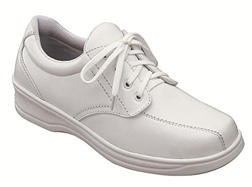Orthofeet Lake Charles Cmofort Orthopedic Plantar Fasciitis Diabetic Womens Walking Shoes White Leather 6 M Us by Orthofeet