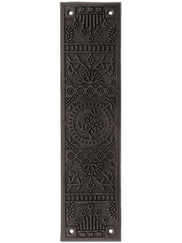 Cast Iron Windsor Pattern Push Plate in Antique Iron.
