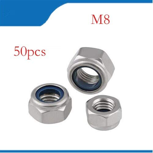 Nuts Metric M8 304 Stainless Steel Hex Head Nylon Insert Lock Jam Stop Nuts 50pcs/Lot