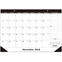 "Nekmit Monthly Desk Pad Calendar, November 2018 - December 2019, 16-3/4"" x 11-4/5"", Black"