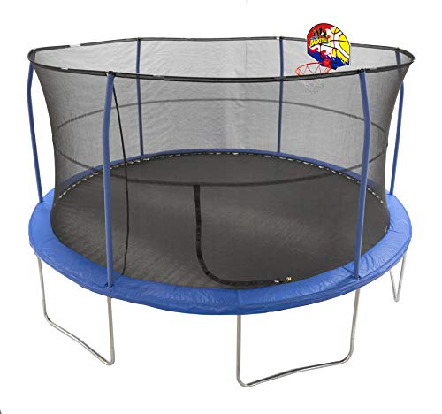 JumpKing 15 Bounce N Dunk Trampoline Enclosure Combo with Basketball Hoop Blue