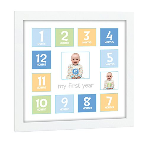 (Tiny Ideas Baby's First Year Keepsake Picture Photo Frame, Blue/Green/Yellow)