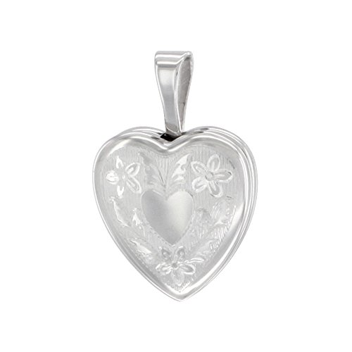 (Very Tiny 1/2 inch Sterling Silver Heart Locket Necklace for Girls Floral Engraving, 16 inch RL_30H)