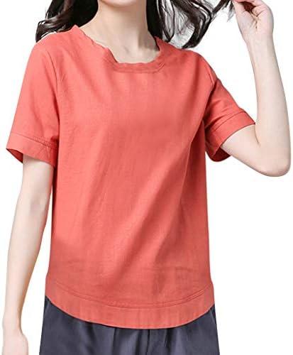 LUNULE VENMO Blusas Camisas de Mujer Elegante Verano Sólido O-Cuello Blusa de Algodón Y Lino Casual Camiseta de Manga Corta Top de Fiesta Mujer: Amazon.es: Ropa y accesorios