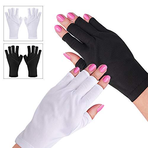 Noverlife 2 Pairs UV Shield Gloves, Manicure UV Protection Gloves for Gel Polish Nail Art Drying Lamp Anti UV Light Fingerless Gloves - Short