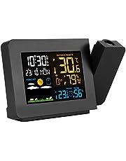 Projektionsväckarklocka med Väderstation, Multifunktionell Färgdisplay Digital Väderprognos Temperaturfuktighetsdetektering Projektionsväckarklocka, Vattentät Hygrometerklocka US Plug