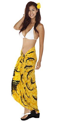 1 del da mondo Costume bagno per con stampa donne delfini giallo sarong Sarong 4zwWqPSFS