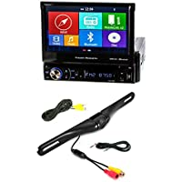 NEW Power Acoustik PDN-726B DVD/CD Player 7 LCD GPS Navigation Bluetooth USB W/ CAM-600 License Plate Bolt-On Rear View Camera w/ Built-In I.R. Camera