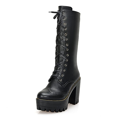 Heel Black Knight Platform Boots Round Closed Chunky Womens Up Lace Toe Lucksender PpTqx8a