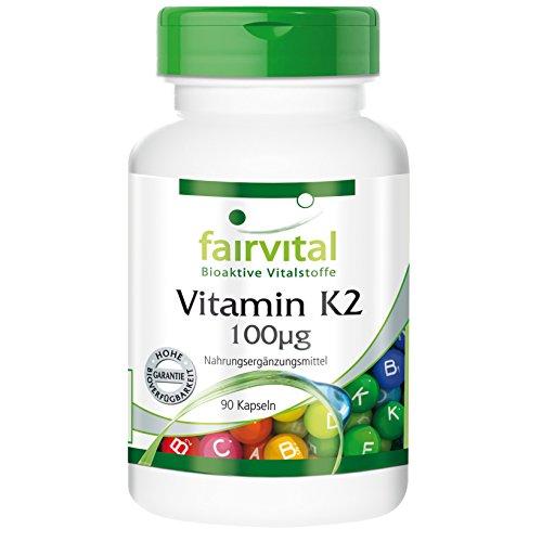Vitamin K2 100µg (natürlich Menaquinon MK-7) 90 vegetarische Kapseln