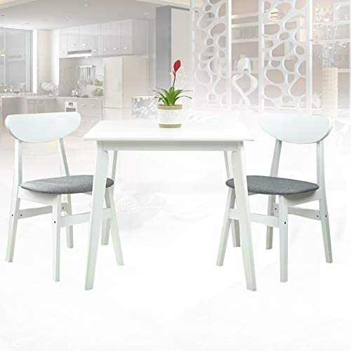 SK New Interiors Dining Room Set of 2 Yumiko Chairs and Square Dining Table Kitchen Modern Solid Wood w/Padded Seat