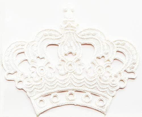 Lovely White Crown Royal King Queen Cartoon Children Kid Patch Appliques Fabric Decorating for Hat Cap Polo Backpack Clothing Jacket T-Shirt DIY Embroidered Iron On/Sew On Patch