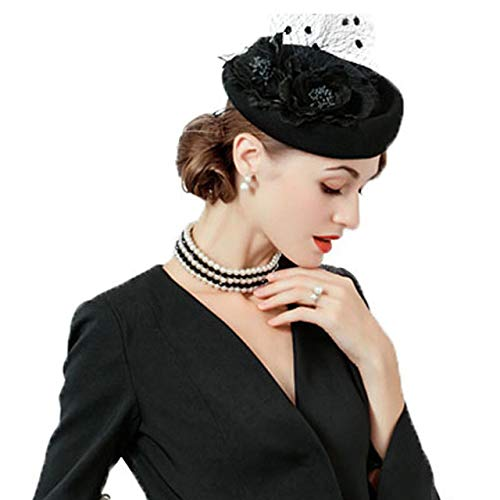0be9a5ae8c6a6 Fascinator Hat for Women Elegant Wool Felt Pillbox Hat with Flowers Ladies  Wedding Party Fedoras Derby