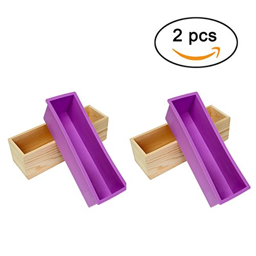 Ogrmar Flexible Rectangular Soap Silicone Mold With Wood Box DIY Tool For Soap Cake Making 42oz (Purple - Silicone Mold Flexible
