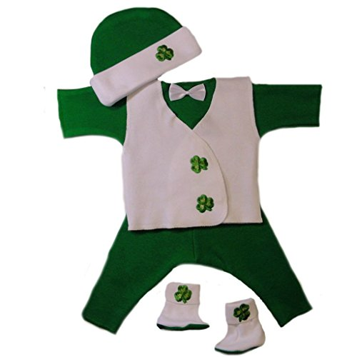 Jacqui's Baby Boys' Irish Shamrock Suit with Vest, Small Newborn